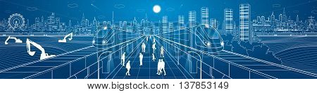 Mega infrastructure panorama city, train on the railway station, people walking on street, industrial and transportation illustration, night town, airplane flying, building scene, vector poster