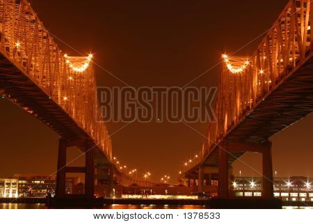 Twin Spans At Night