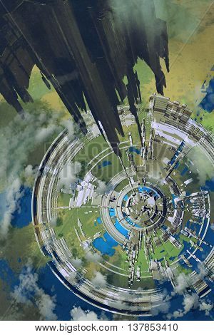 aerial view of futuristic city and spacecraft in the foreground, alien planet, illustration painting