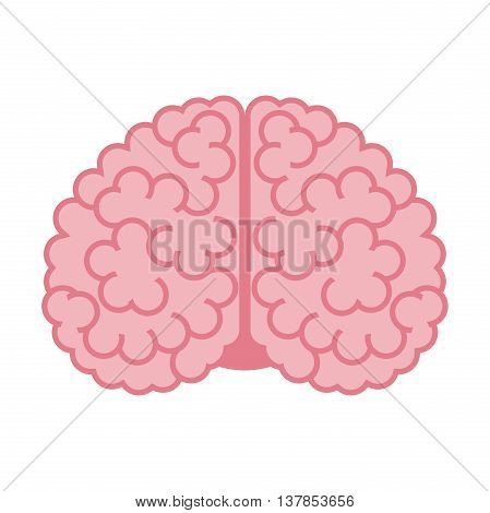 Human brain isolated on white background. Flat design. Vector illustration. EPS 8 no transparency