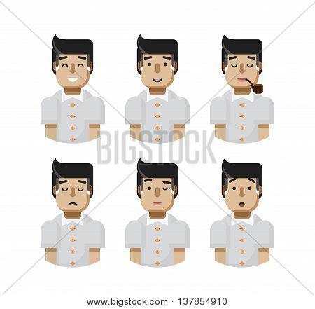 Stock vector illustration set male avatars, avatar with wide smile, male avatar slight smile, avatar with pipe in mouth, upset, avatar winks, avatars surprised, Emoji, avatar hair grizzled flat-style