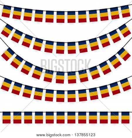 different garlands with national colors of romanian flag