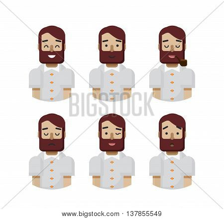 Stock vector illustration set male avatars, avatar with wide smile, male avatar with slight smile, avatar with pipe in mouth, upset, avatar winks, avatars surprised, Emoji, hipster beard flat-style