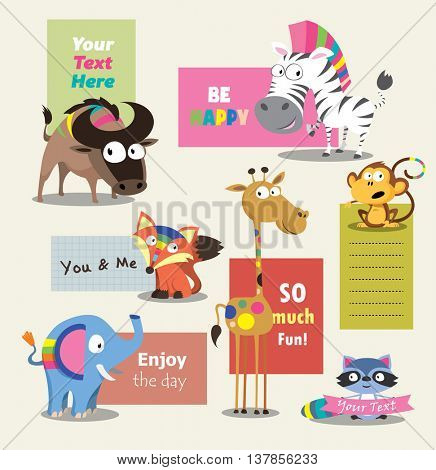 Wild animal zoo template vector cartoon set. Jungle animals pets. Vector animals.
