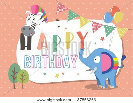 Birthday card with cute animals