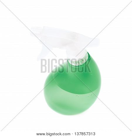 Green plastic pulverizer spray isolated over the white background