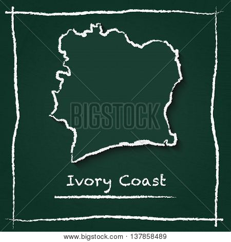 Cote D'ivoire Outline Vector Map Hand Drawn With Chalk On A Green Blackboard. Chalkboard Scribble In