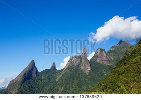famous peaks of national park Serra dos Orgaos at Brazil poster