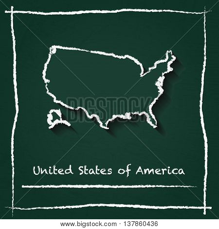 United States Outline Vector Map Hand Drawn With Chalk On A Green Blackboard. Chalkboard Scribble In