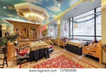 MOSCOW/RUSSIA - DECEMBER 2014. The interior of the deluxe restaurant of Uzbek cuisine - Babay Club in an oriental style.