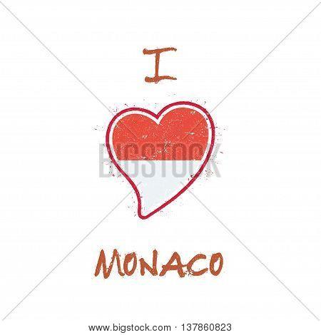 Monegasque Flag Patriotic T-shirt Design. Heart Shaped National Flag Monaco On White Background. Vec