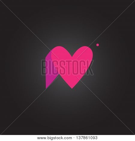 Letter N. Letter rounded character in the hearts of ide. Icon logo lilac pink on a dark background