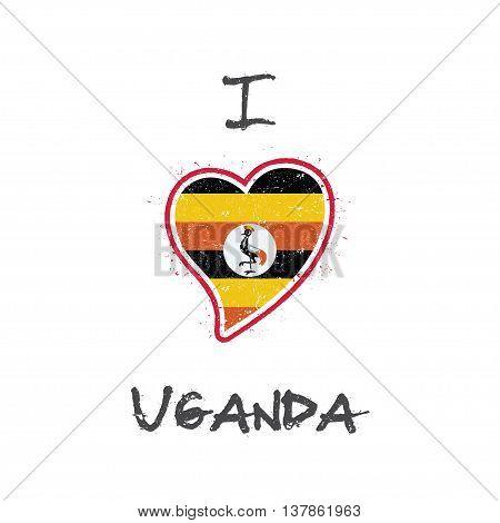 Ugandan Flag Patriotic T-shirt Design. Heart Shaped National Flag Uganda On White Background. Vector