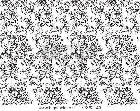 Chinese traditonal seamless pattern with outline black flowers on white background. Vector design for textile wallpaper fabric packaging coloring covers and others