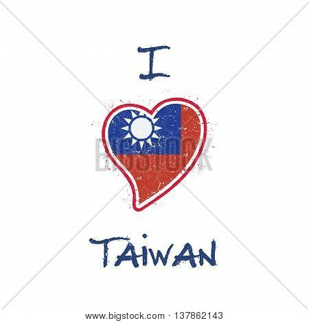 Taiwanese Flag Patriotic T-shirt Design. Heart Shaped National Flag Taiwan, Republic Of China On Whi