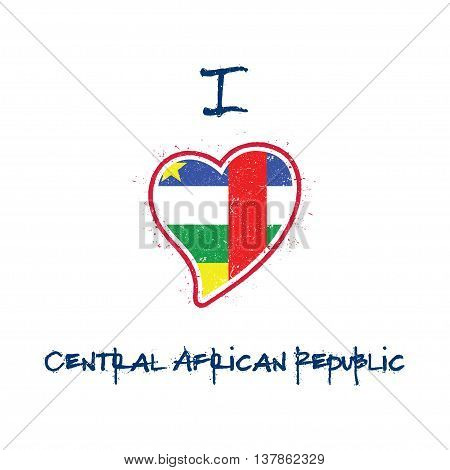 Central African Flag Patriotic T-shirt Design. Heart Shaped National Flag Central African Republic O