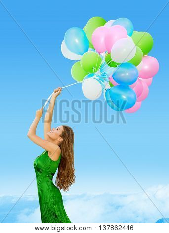 Woman Colored Balloons Young Girl Flying in Blue Sky