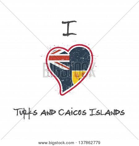 Turks And Caicos Islander Flag Patriotic T-shirt Design. Heart Shaped National Flag Turks And Caicos