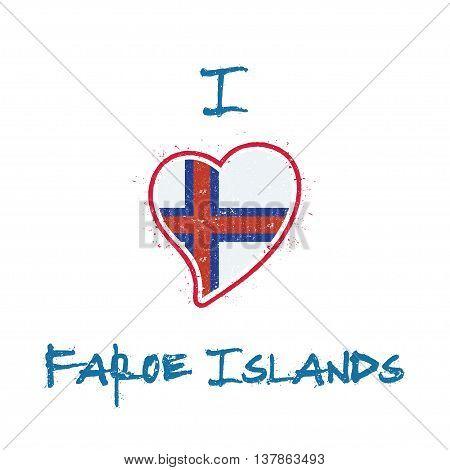 Faroese Flag Patriotic T-shirt Design. Heart Shaped National Flag Faroe Islands On White Background.