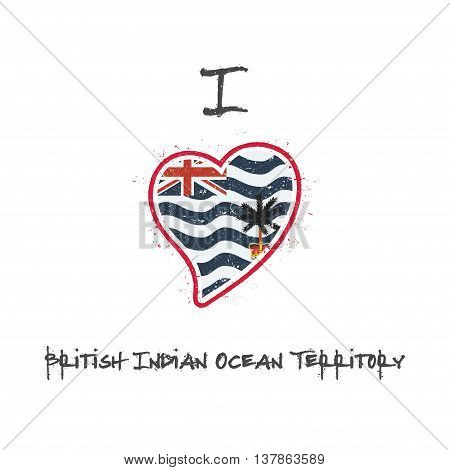 Indian Flag Patriotic T-shirt Design. Heart Shaped National Flag British Indian Ocean Territory On W