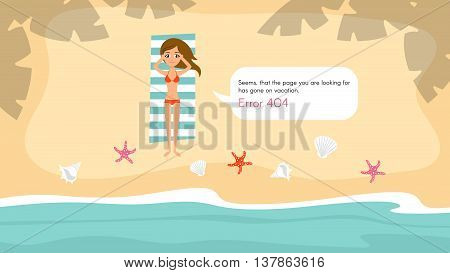 Vector 404 error page template for website. Cute beautiful young girl resting on the beach. Seashells scattered on the beach. Summer vacation.