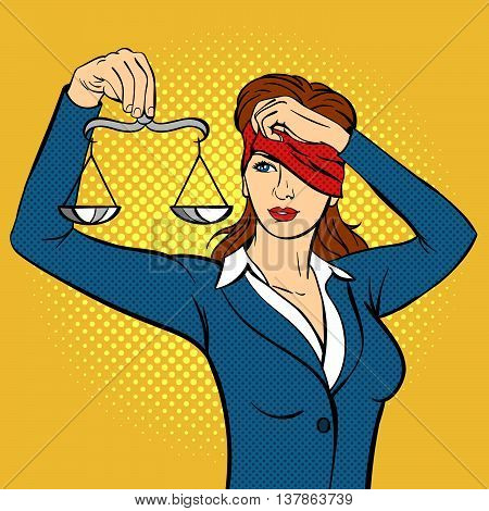 Vector hand drawn pop art illustration of young woman with the Libra in her hand. Concept for Themis and the Law. Retro style. Hand drawn sign. Illustration for print web.