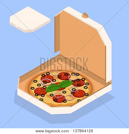 Vector illustration of pizza. Tasty pizza in the box. Isometric design.