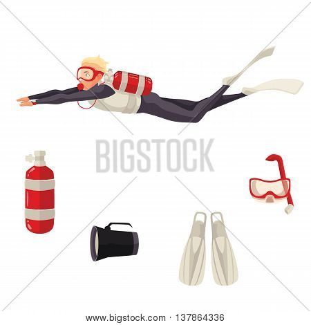 Scuba diving vector equipment, cartoon illustration isolated on white background. Diver and diving necessities goggles, oxygen tank flippers flashlight. Underwater sport scuba snorkeling equipment