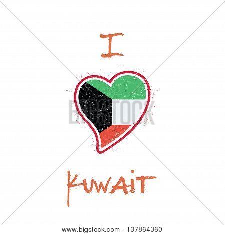 Kuwaiti Flag Patriotic T-shirt Design. Heart Shaped National Flag Kuwait On White Background. Vector