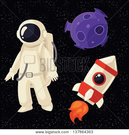 Set of cartoon astronaut, rocket and planet in cosmos vector illustration. Cosmonaut floating in space spaceship stars and moon. Illustration of cosmos traveler, galaxy eplorer