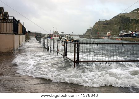 The Harbor Flooding During A Storm At High Tide, Portreath