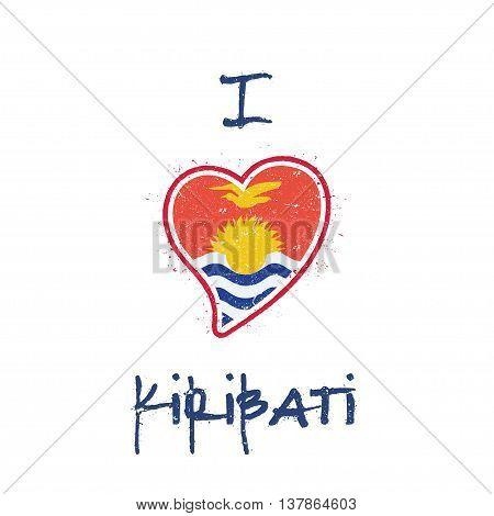 I-kiribati Flag Patriotic T-shirt Design. Heart Shaped National Flag Kiribati On White Background. V