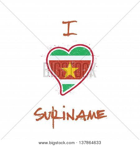 Surinamer Flag Patriotic T-shirt Design. Heart Shaped National Flag Suriname On White Background. Ve