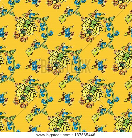 Chinese traditonal seamless pattern with flowers on yellow background. Vector design for textile wallpaper fabric packaging covers and others