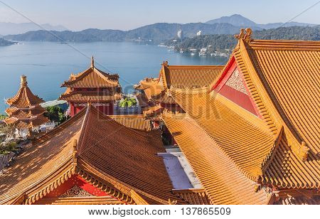 View from the top of the Wenwu temple at Sun Moon Lake Taiwan