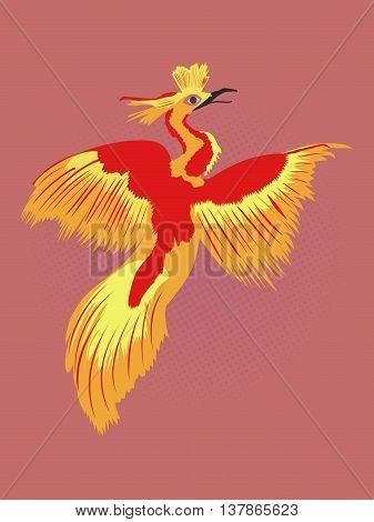 Reborn Phoenix pop art drawing. Fire bird drawing with black dotted red background. Cartoon illustration of legendary Phoenix.