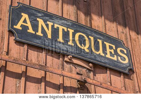 Old antiques sign of a shop in Lubeck Germany