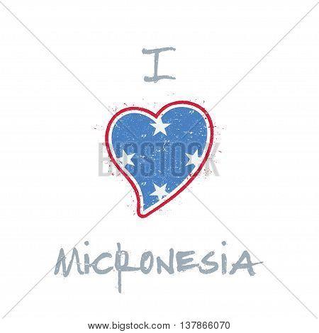 Micronesian Flag Patriotic T-shirt Design. Heart Shaped National Flag Micronesia, Federated States O