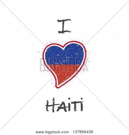 Haitian Flag Patriotic T-shirt Design. Heart Shaped National Flag Haiti On White Background. Vector