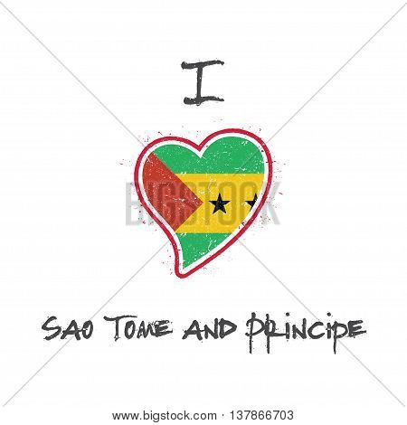 Sao Tomean Flag Patriotic T-shirt Design. Heart Shaped National Flag Sao Tome And Principe On White