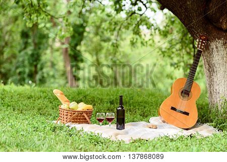 Wonderful picnic in park for romantic couple. Basket of food, wine and guitar on grass