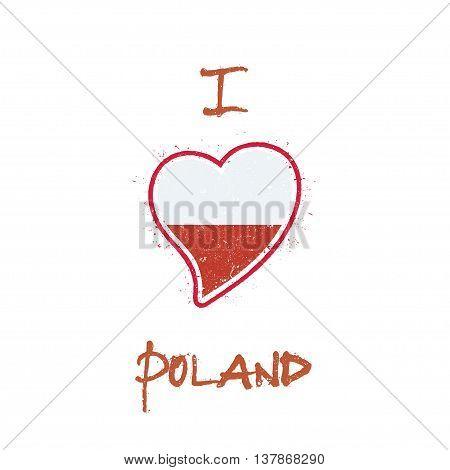 Polish Flag Patriotic T-shirt Design. Heart Shaped National Flag Poland On White Background. Vector