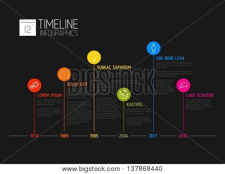 Vector Infographic timeline report template with the biggest milestones, icons, years and color buttons - dark template version
