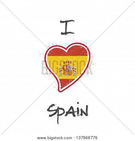 Spanish Flag Patriotic T-shirt Design. Heart Shaped National Flag Spain On White Background. Vector