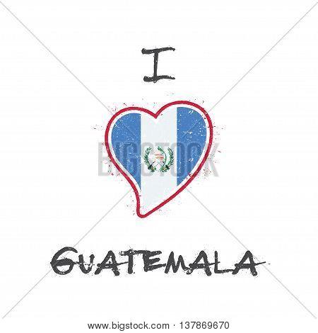 Guatemalan Flag Patriotic T-shirt Design. Heart Shaped National Flag Guatemala On White Background.