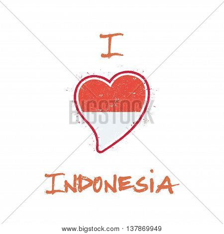 Indonesian Flag Patriotic T-shirt Design. Heart Shaped National Flag Indonesia On White Background.