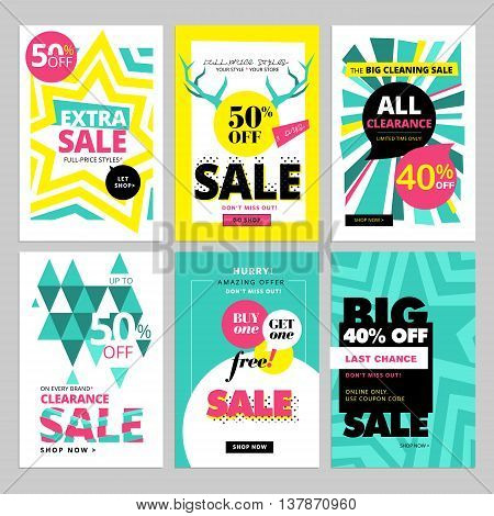 Modern eye catching social media sale banners. Vector illustrations for website and mobile website banners, posters, email and newsletter designs, ads, promotional material.