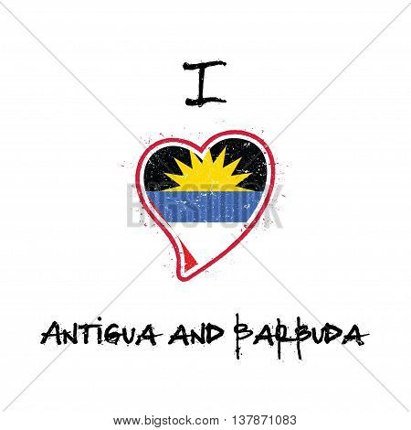 Antiguan, Barbudan Flag Patriotic T-shirt Design. Heart Shaped National Flag Antigua And Barbuda On