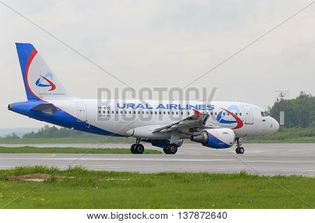 MOSCOW, RUSSIA - MAY 19, 2016: Airbus A319 Ural Airlines taxiing. Plane makes taxiing on taxiway Domodedovo International Airport.