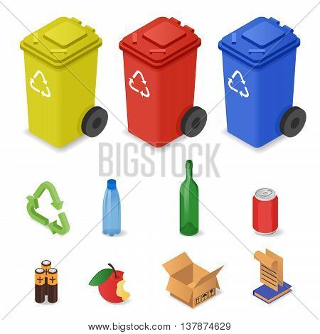 Vector isometric set of waste sorting cans. Icons for different kinds of waste: plastic glass batteries. Colorful waste cans.